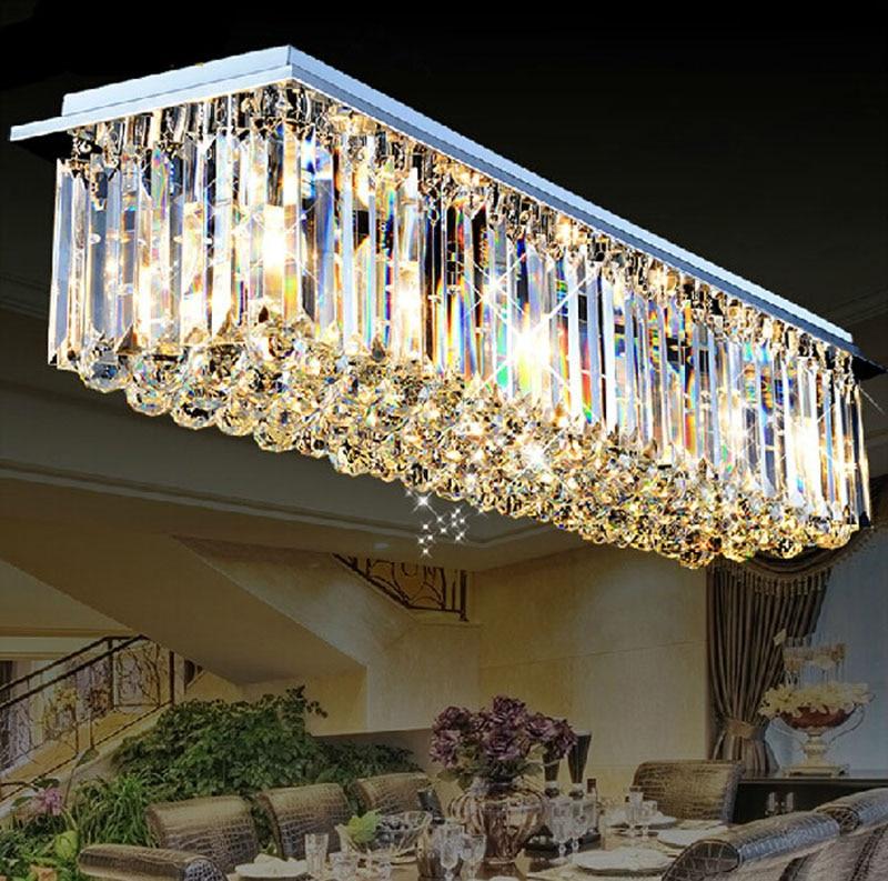 Rectangular crystal lamp LED bar counter crystal chandelier restaurant lights modern living room lights hall aisle ceiling lamp european style crystal chandelier cord pendant lamp led dia150mm 400mm living room lamp restaurant aisle light led bar lamp