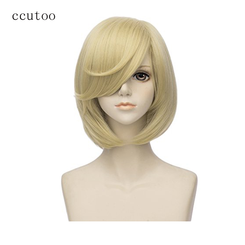 ccutoo 35cm Light Golden Blonde Short Female's Straight Synthetic Hair Cosplay Costume Wigs Heat Resistance Fiber