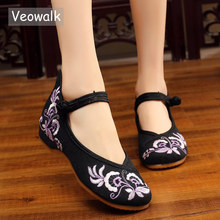 Veowalk Flowers Embroidered Women Canvas Ballet Flats Ankle Strap Ladies Cotton Embroidery Ballerinas Chinese Handmade Shoes