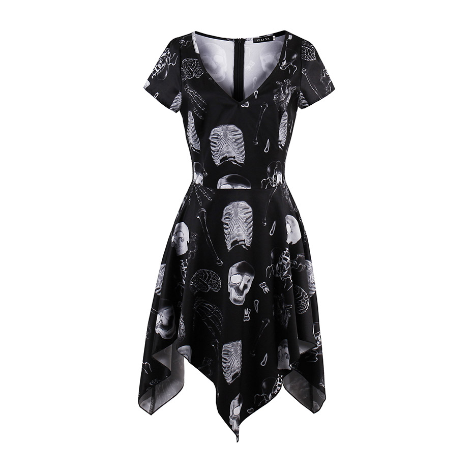 Women gothic solid black short dress sexy v-neck short sleeve pullover dress fashion a-line print skull skeleton girl mini dress