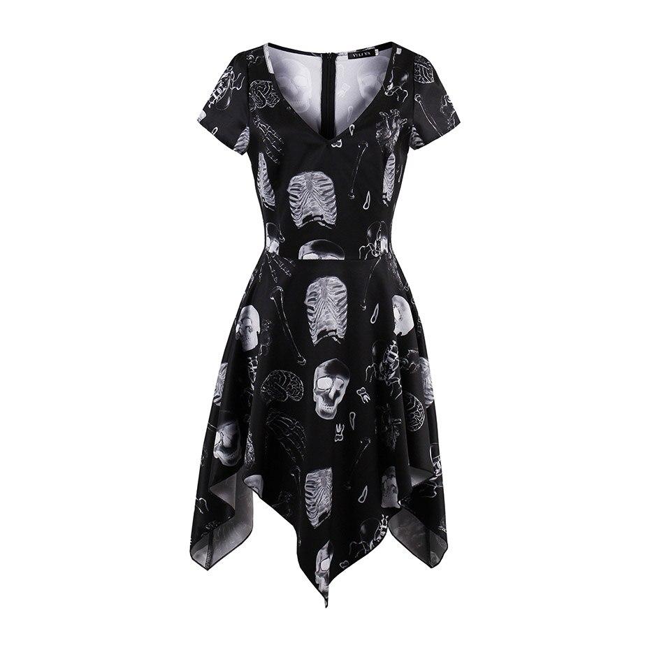 Для женщин Готический сплошной черный Короткое платье sexy v-образным вырезом пуловер с коротким рукавом модное платье трапециевидной формы ...