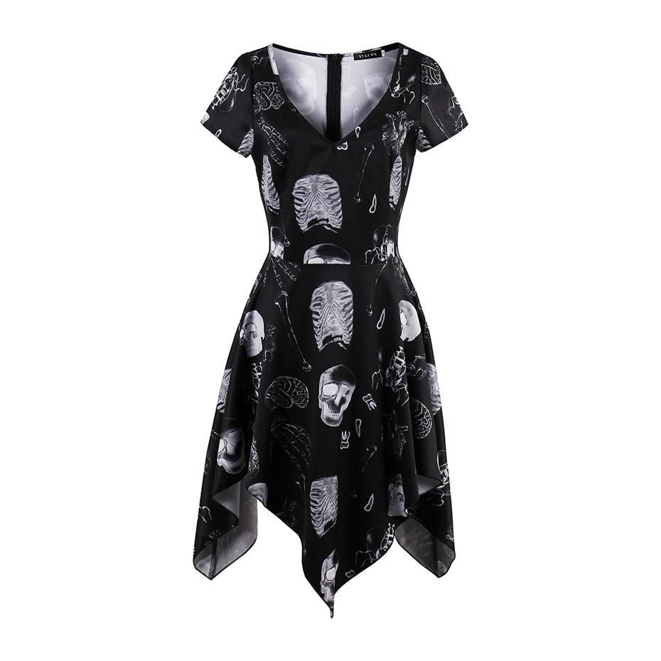 Women gothic solid black short dress sexy v-neck short sleeve pullover dress fashion a-line print skull skeleton girl mini dress