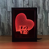 Novelty Love Heart Photo Frame 3D Led Night Light Touch Or Remote Table Decoration Lamps Girls