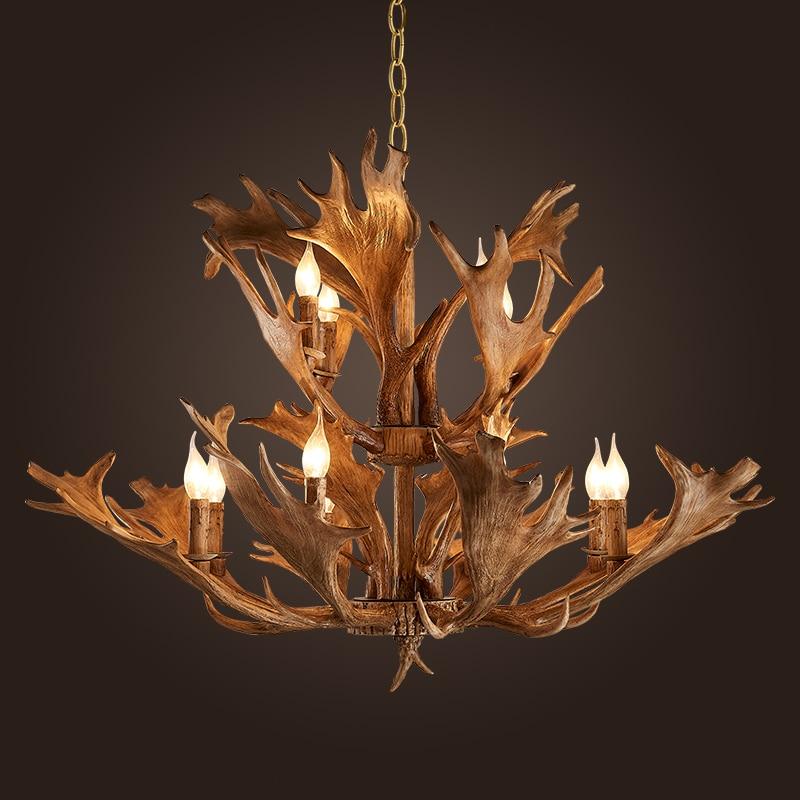 Europe Country 5/12 Head Chandelier American Retro Lamps Resin Deer Horn Antler Lampshade resin antler chandelier Dia 620/930mm