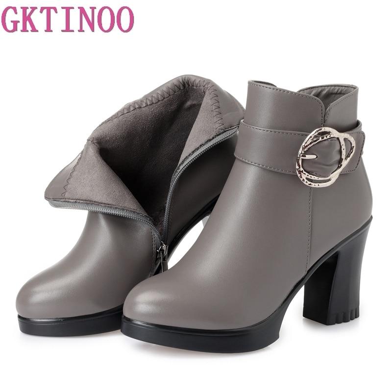 GKTINOO nouveau automne hiver femmes bottines en cuir court chaussons talons hauts plate-forme bottes femme avec des chaussures de fourrure 2018