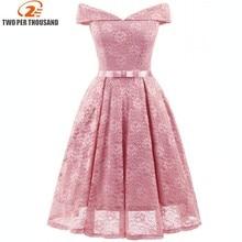Pink Vestidos 2018 Elegant Lace Patchwork Solid Off the Shoulder A-Line Fashion Dress Sexy Slim Party Dresses Vestido De Festa