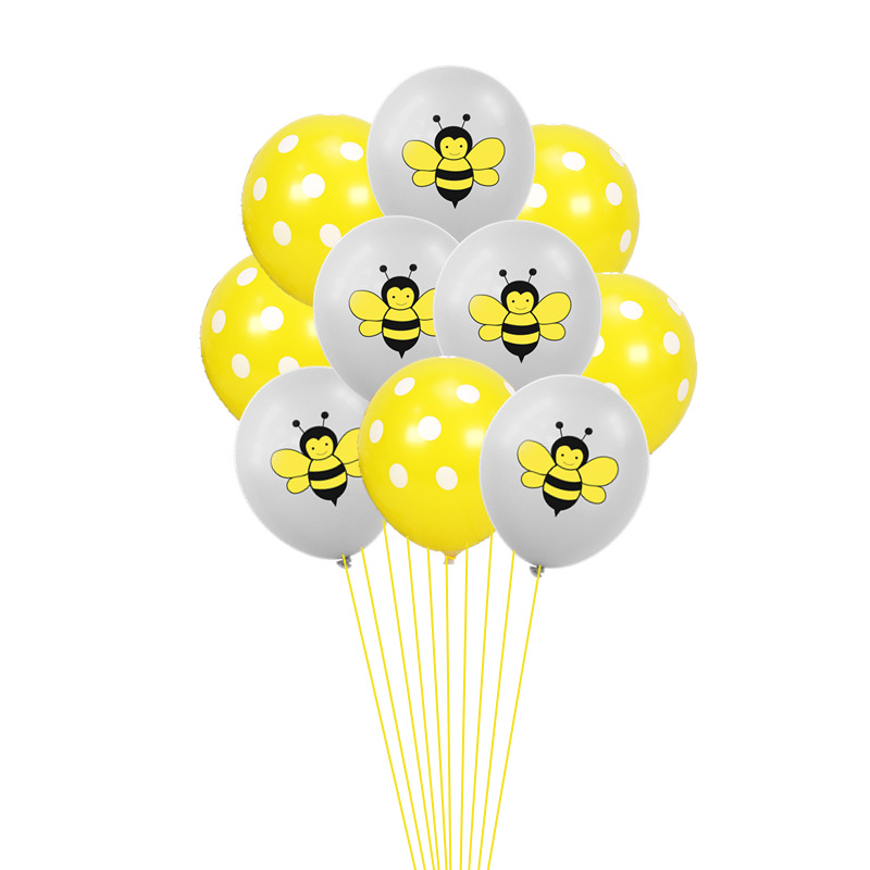 10 15pcs 12inch Animal Balloons Cartoon Bee Latex Balloons Inflatable Air Ballon for Baby Shower Birthday Party Decor Supplies in Ballons Accessories from Home Garden