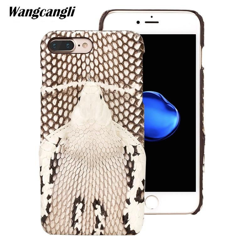 Wangcangli marque véritable peau de serpent coque de téléphone pour iphone 7 plus téléphone couverture arrière étui de protection en cuir coque de téléphone