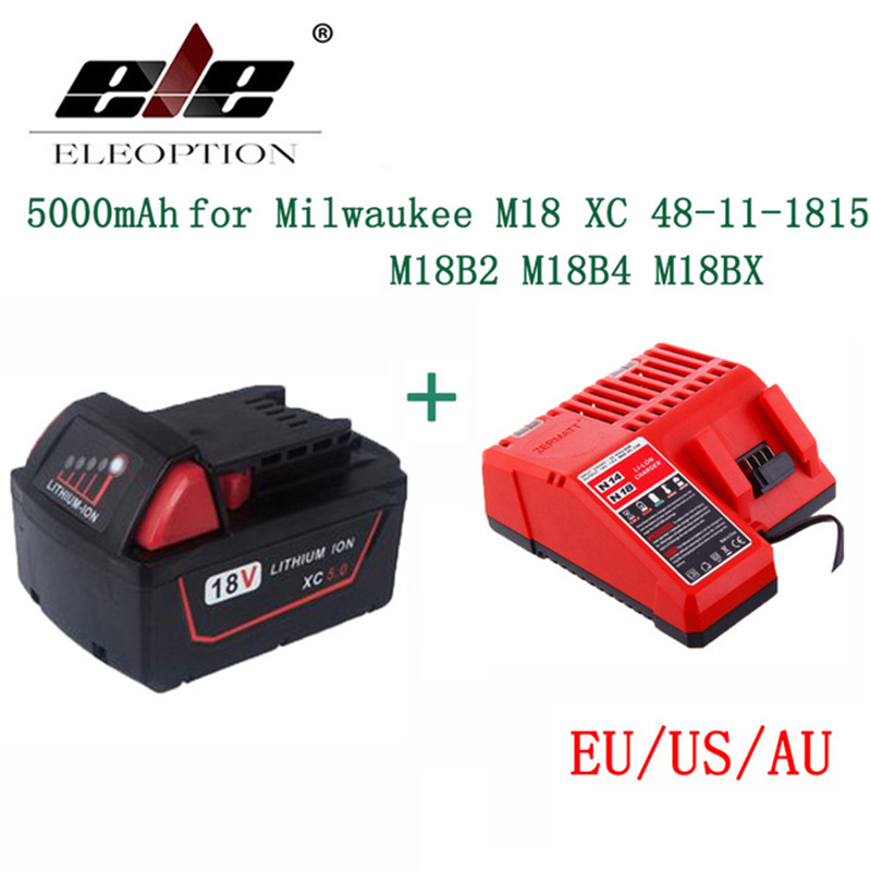 ELEOPTION 5000mAh 18V Li-Ion Replacement Power Tool Battery for Milwaukee M18 Battery and charger XC 48-11-1815 M18B2 M18B4 power tools replacement li ion battery charger electric screwdriver lithium ion battery charger for milwaukee m12 m18 ac110 230v