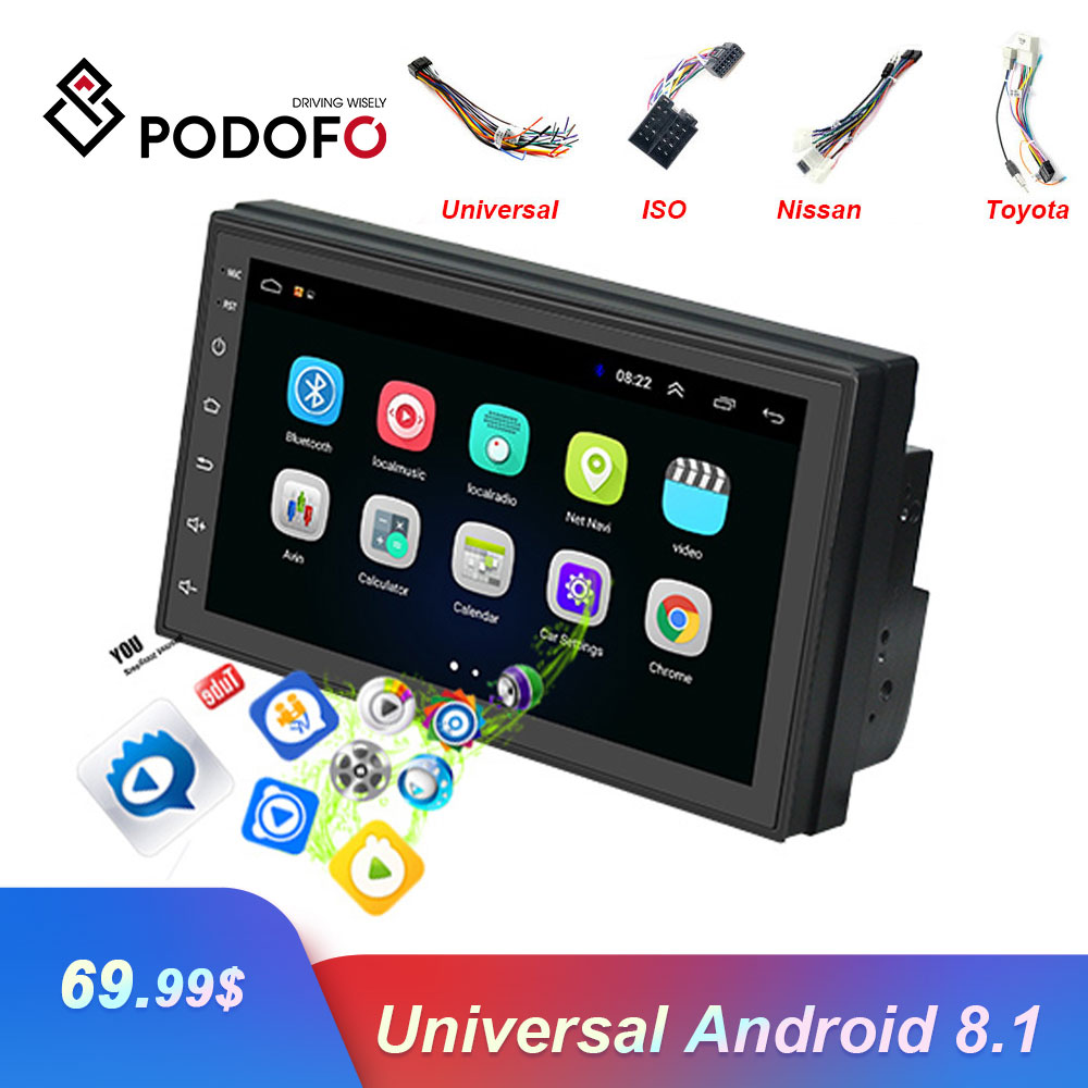 Podofo 2DIN Andriod Autoradio GPS Navigation Car Multimedia Player WiFi USB FM 2 Din 7 Car Audio Radio Stereo Backup Monitor image