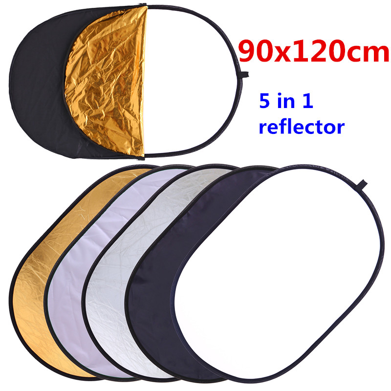 CY Free Shipping 90x120cm 5 in 1 Portable Collapsible Light Round Photography Reflector for Studio Multi Photo Disc accessories photography light control panels system fabrics 5 in 1 lighting photo reflector 70 100cm 28 40inch