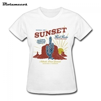 Women T Shirts Short Sleeve 100 Cotton Sunset Red Rocks Original American Vintage Desert T Shirt