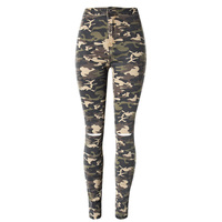 Idopy Womens Girls Ladies Vintage Washed High Waist Camo Camouflage Skinny Stretch Elastic Ripped Denim Jeans Pants For Women