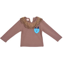 Baby Kids Girl Long Sleeve T-shirt Lace Collar Princess Blouse Tee Tops Pullover 5 LS4
