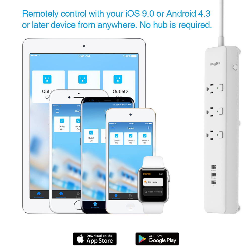 Koogeek Smart USB Power Strip Socket Outlet Surge Protector ...