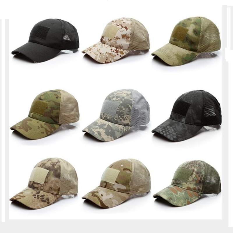 Summer Outdoor Camouflage US Army Tactic Mesh Baseball Caps Digital ACU Special Force Green Snapback Hat Outdoor disguise Caps