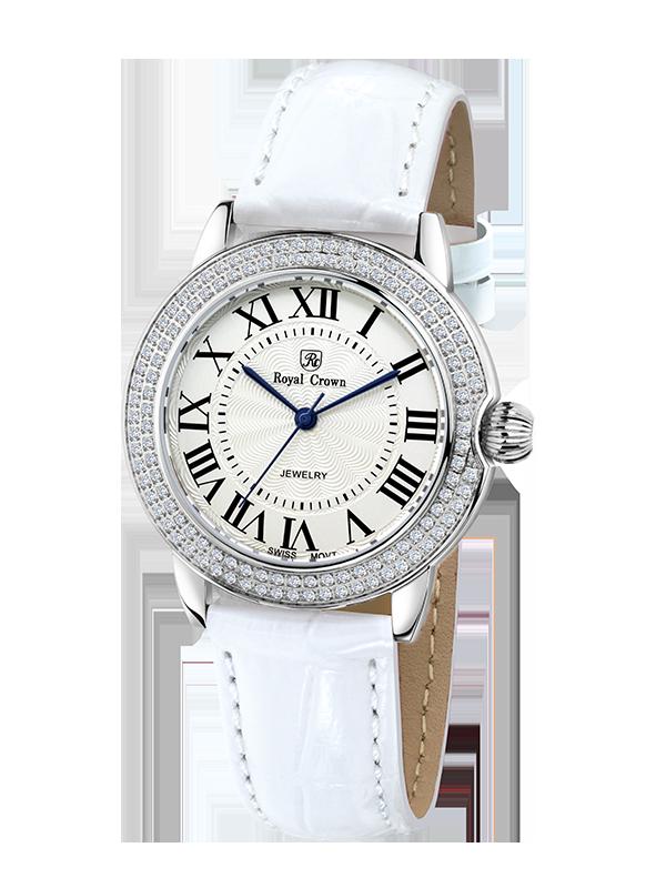 Royal Crown Jewelry Watch 6119L Italy brand Diamond Japan MIYOTA platinum Ladies WristWatches Dress Women Watches