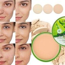 Fond de teint éclaircissant pour le visage, crème anti cernes, contrôle de lhuile, poudre compacte, lisse, pressée, longue durée, Base mate, maquillage