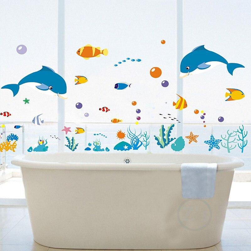 Zs Sticker dolphin fish mundo marino vinilos decorativos ocean fish - Decoración del hogar - foto 4