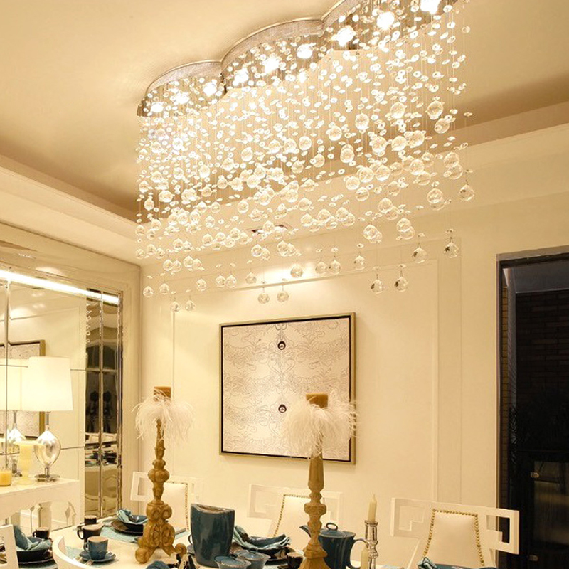 Luxury crystal lamp restaurant lights hanging line lights cut curtain oval light modern simple entrance lights crystal chandelie