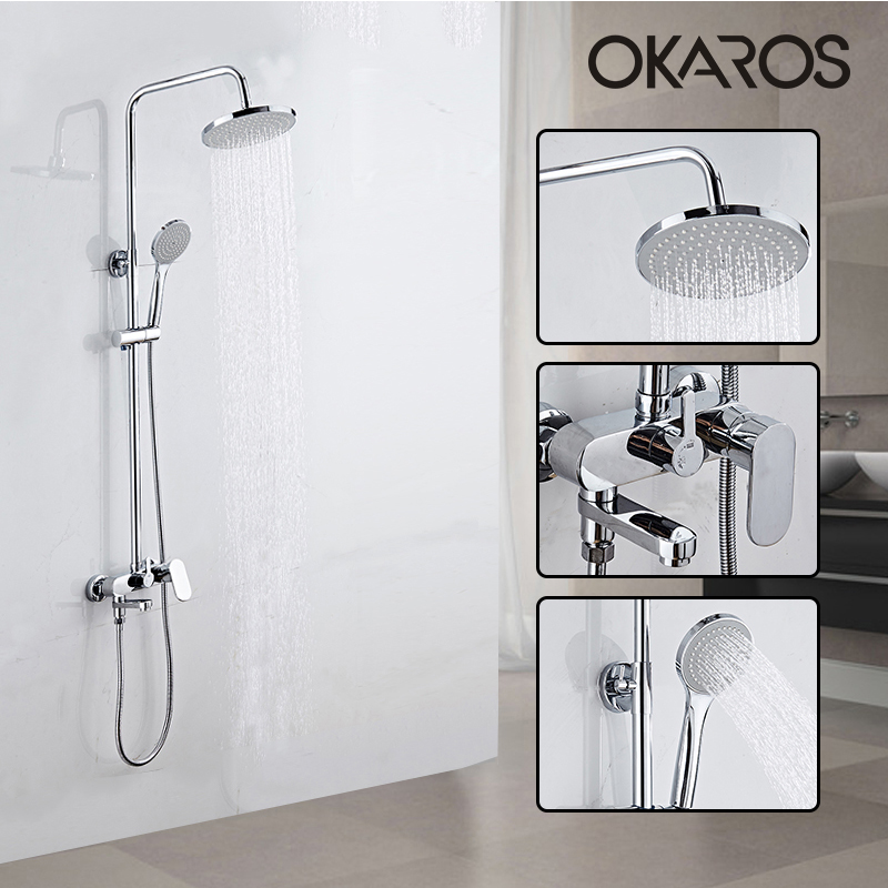 OKAROS Chrome Finish Shower Faucet Rainfall Shower Head Hand Shower Sprayer Bathroom Shower System Set Water Tap Mixer Torneira free shipping polished chrome finish new wall mounted waterfall bathroom bathtub handheld shower tap mixer faucet yt 5333