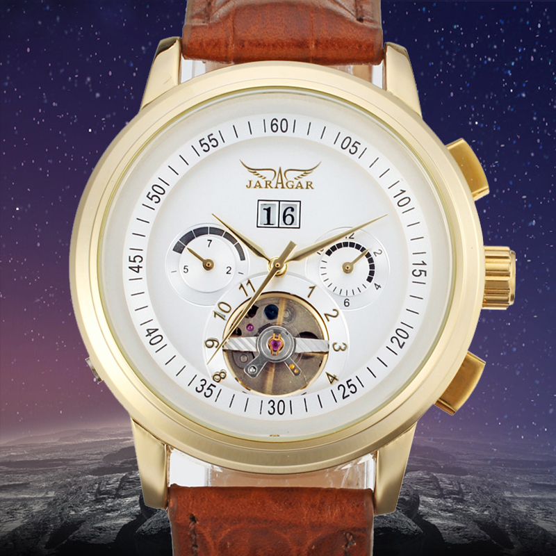 цена JARGAR Self-wind Automatic Watch Tourbillon Watches Men Brown Genuine Leather Jargar