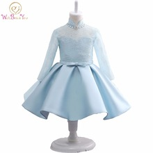 Light Blue Lace Dress Satin Long Sleeves Flower Girls Dresses High Neck Ball Gown First Communion Dress Kids Pageant Gowns Stock