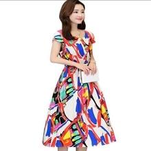 new Summer Eleagnt Work Vestido Women Round Neck Vintage Floral Printed Pocket cotton silk dress plus size S-6XL недорого