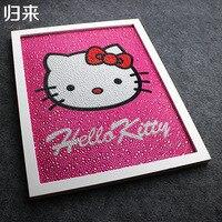 Lovely Hello Kitty Painting Diy 5D Diamond Painting Hello Kitty Cat Full Embroidery Round Diamond