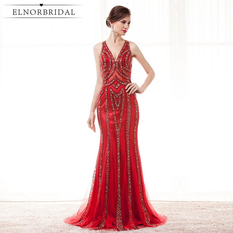 Red Mermaid Arabic Evening Dresses 2018 Luxury Robe De Soiree V Neck Formal Prom Dress For Women Long Party Gowns