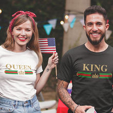 couple t shirt for husband and wife lovers king queen crown clothes funny tops tee femme casual men women 2019 harajuku clothing(China)