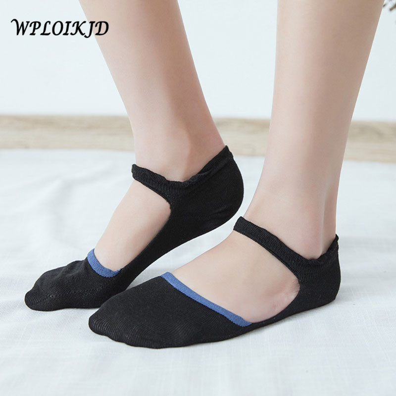 [WPLOIKJD]1 Pair Anti Slip Comfort Ankel Stealth Cotton Ship Socks Breathable Ballet Women Socks Meias Sokken