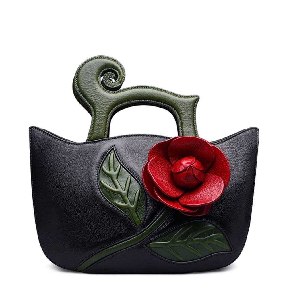11.11 Super Deal Designer Inspired Flower Ladies Handmade Leather Tote Lady single shoulder strap Handbags