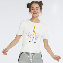 LUS LOS Unicorn Print Women T-Shirt White Summer New Fashion Shirt Clothes Female Tees