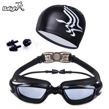 93828711fe1d Nuevo Marco grande profesional Enchapado Anti-niebla natación gafas Anti-UV  vidrio hombres mujeres ...