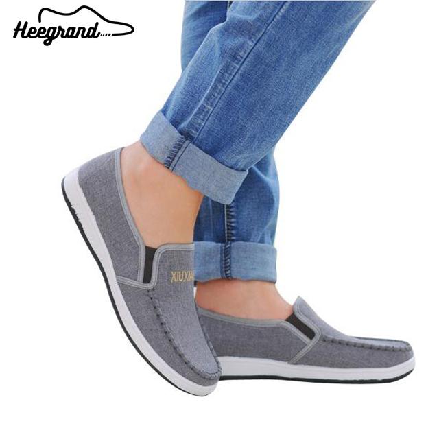 Los hombres Zapatos de Los Planos de la Plataforma 2017 Nueva Llegada Del Otoño Del Resorte de Los Hombres de La Manera Causal Solid Slip-en Los Zapatos de Lona XMF470