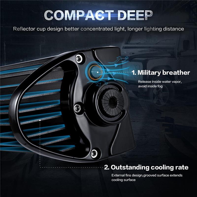 Oslamp 3-Sıralı 14inch Düz LED İşıq Bar Ləkəsi + Daşqın - Avtomobil işıqları - Fotoqrafiya 3