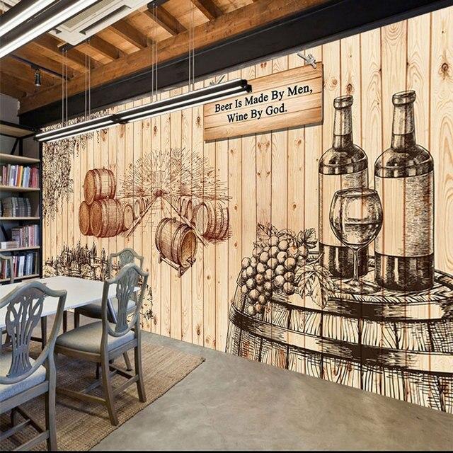 Painted wine photo wallpaper mural vintage bar home decor for Vintage hotel decor
