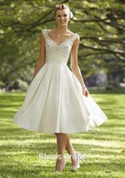 50s Vintage Inspired Pocket Wedding Dress A Line Wedding Gown Mid Calf Satin Short Bridal Dress
