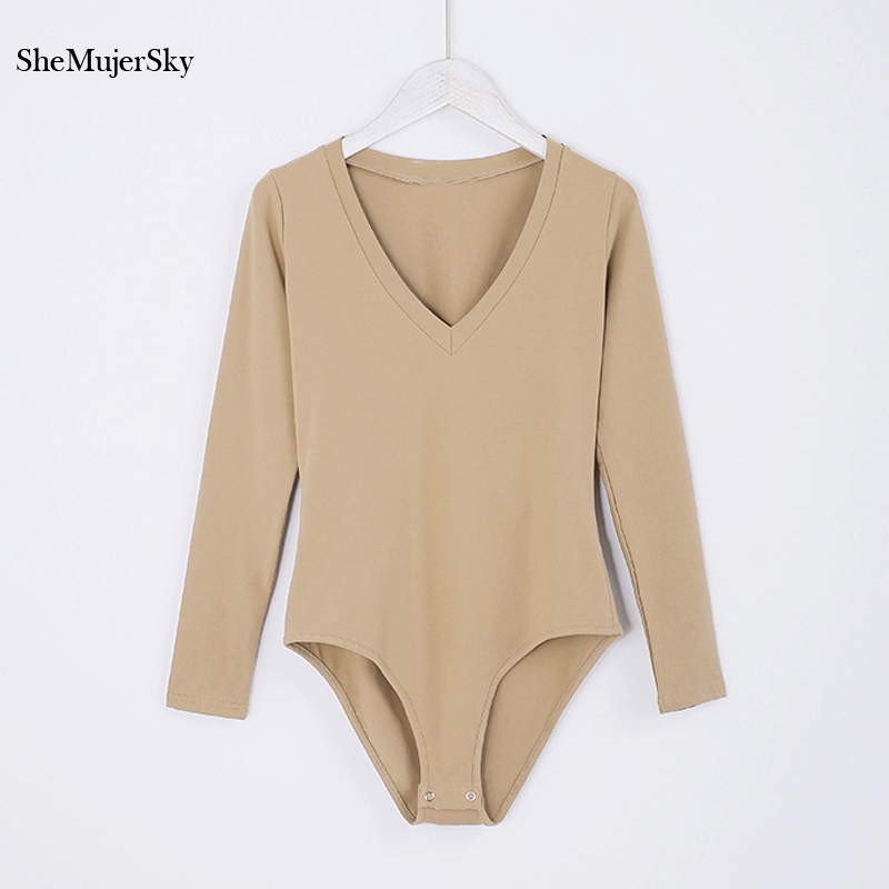 SheMujerSky V Neck Bodysuit Women Bodysuits Long Sleeve For Women Autumn   Jumpsuits   Playsuit Womens Rompers