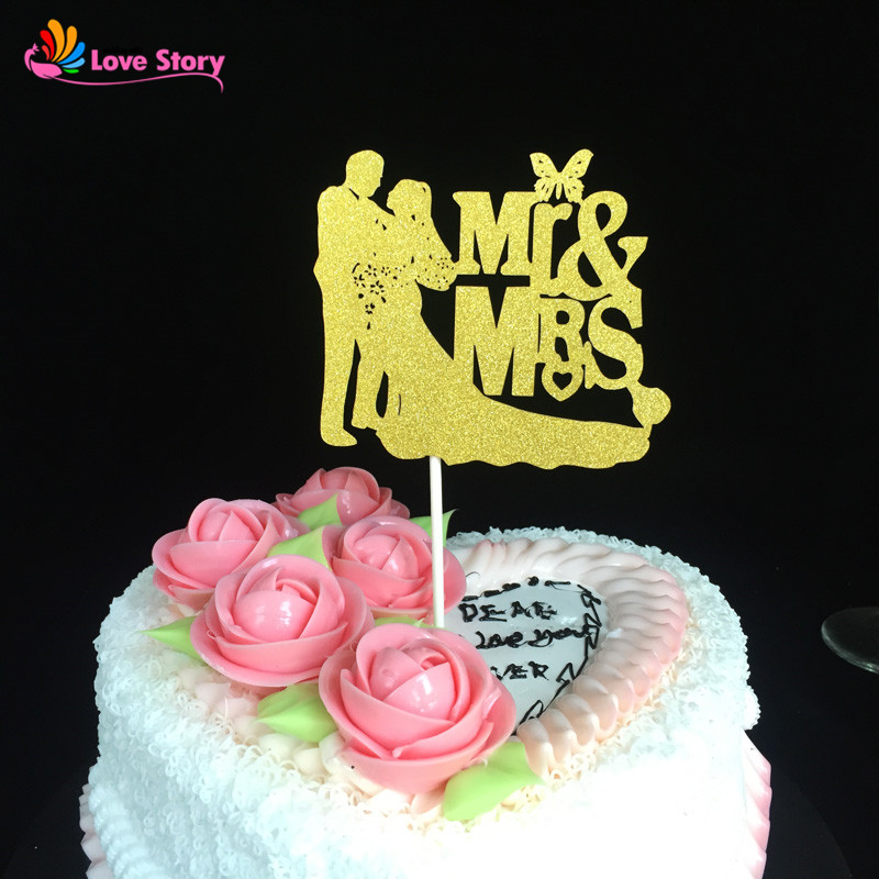 24pcs/pack Wedding Decoration Paper Glitter Cake Topper Mr&Mrs Groom ...