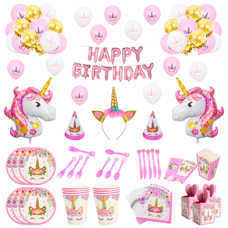 Unicorn Birthday Party Decorations Kids Pink Rainbow Unicorn Banner Plate Balloons Napkin Wrapper Girl Happy Birthday Decor