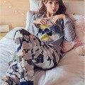 Nueva caliente 2017 Del Otoño Del Resorte Gafas Pijama Pijama Pijamas de Las Mujeres para Las Mujeres Pijamas de Las Muchachas de La Noche Pijama Mujeres Femme