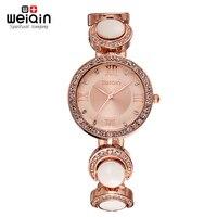 WEIQIN Brand Luxury Rose Gold Watch Women Crystal Quartz Steel Bracelet Relojes Ladies Girl Party Dress