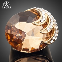 18K Real Gold Plated SWA ELEMENTS Austrian Crystal Eagle With Its Claws Clamping Big Zircon Ring