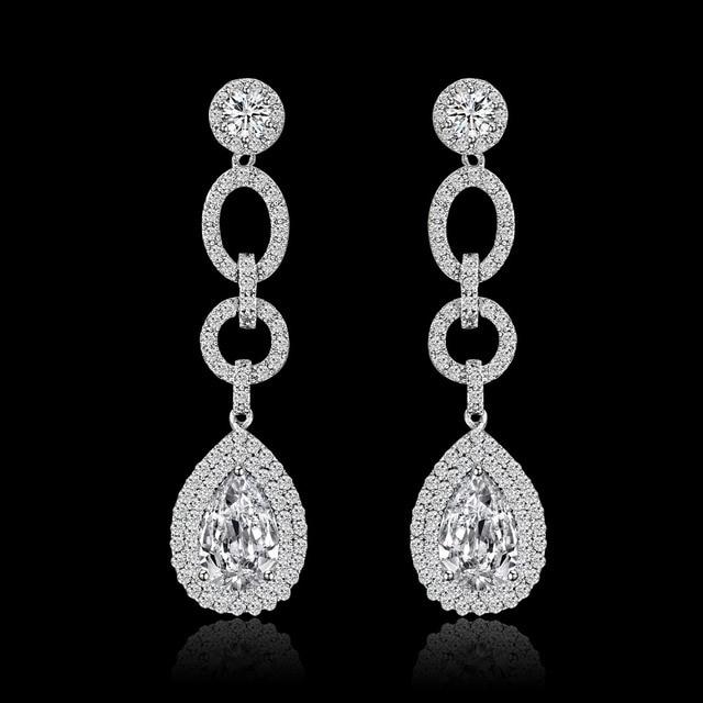 Hot Sale 4 Colors Water Drop Elegant Fashion Jewelry Long Earrings for Women AAA Cubic Zirconia Crystal Statement Earring brinco