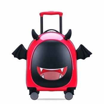 f6b840a660421 Yeni Sevimli Karikatür Marka Bavullar Tekerlek Çocuk Seyahat Çantası  Öğrenci Arabası Çocuk Kabin Haddeleme Bagaj
