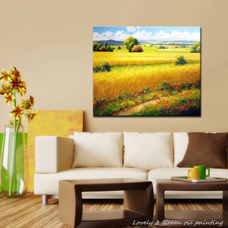 Frameless Canvas Art Oil Painting Flower Painting Design: Hand Painted Landscape Oil Painting Frameless Decorative
