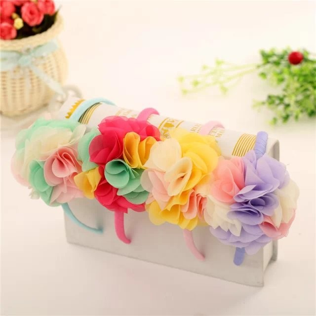 1pcs Colored flowers children kids baby girls hair accessories hairbands headwear bow Retail wholesale Boutique tiara yiwu china 10pcs sweet diy boutique bow headbands elastic head band children girl hair accessories headwear wholesale