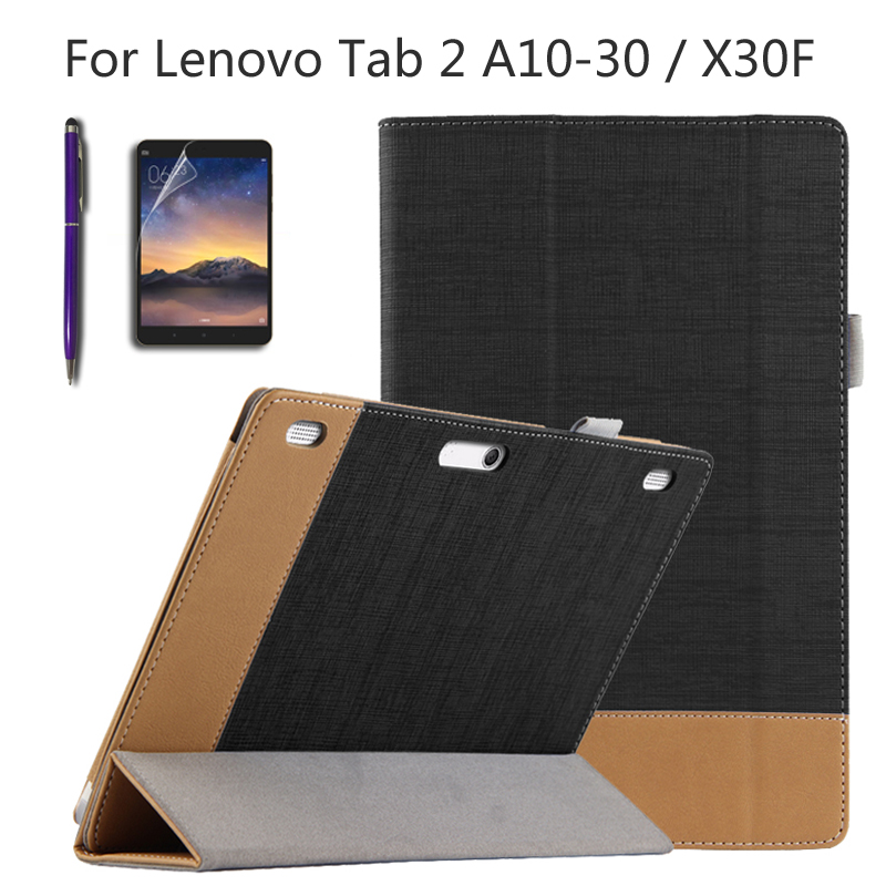 For Lenovo Tab 2 A10-30 X30F 10.1 inch Tablet dedicated support set of color matching Smart Cover + Film + Stylus ultra thin smart flip pu leather cover for lenovo tab 2 a10 30 70f x30f x30m 10 1 tablet case screen protector stylus pen